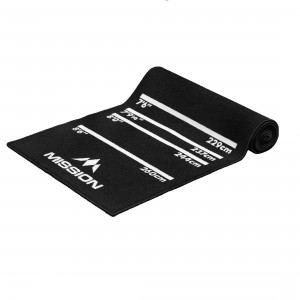 Mission Carpet Dartmat 60x290cm Zwart met logo Mission darts