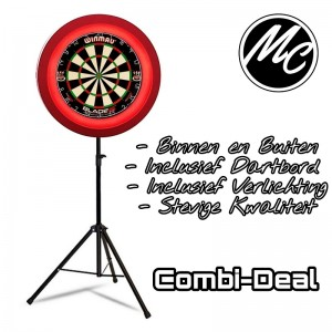 Complete Dart Caddy Inclusief Dartbord + Led Verlichting Rood
