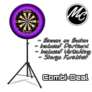 Complete Dart Caddy Inclusief Dartbord + Led Verlichting  Paars