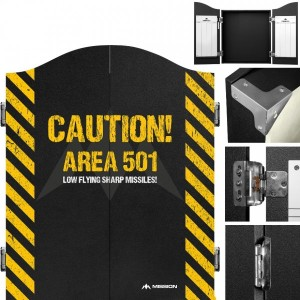 Mission Dartbord Deluxe Cabinet Caution